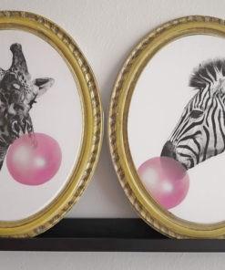 set de cuadros animales, jirafa y cebra